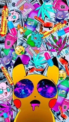 The perfect Pikachu wallpaper😍 This is so fantastic😗 Weed Wallpaper, Pop Art Wallpaper, Hippie Wallpaper, Graffiti Wallpaper, Iphone Background Wallpaper, Cartoon Wallpaper, Galaxy Background, Dope Wallpapers, Gaming Wallpapers