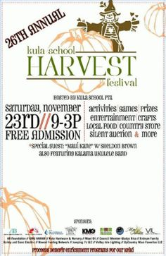 Kula, HI FREE Family event with activities and attractions for all. Food - Fun - Live Entertainment - Bouncer.  *Silent Auction *Crafts  *Games  *Country Store   *Crafters Row   & more...    www.k… Click flyer for more >>