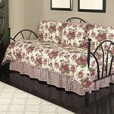 The Norfolk Rose Floral Daybed Set from Waverly(R) includes a daybed quilt, bedskirt, and three standard shams. The cotton daybed quilt features a floral. Daybed Sets, Daybed Bedding, Daybed Covers, Ruffle Bedding, Comforter Sets, Waverly Bedding, Cheap Bed Sheets, Ruffle Bed Skirts, Buy Bed