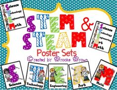 STEM and STEAM posters for your elementary classroom! Includes 2 all in one posters, 5 individual posters, and 5 posters that display the sequence and questions for the STEM/STEAM process.