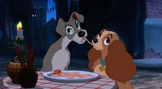 """The night will weave its magic spell when the one you love is near."" Let this unforgettable scene serve as a reminder to savor even the smallest moments with the one you love. Lady and The Tramp. Hopeless Romantics: Disney Edition"
