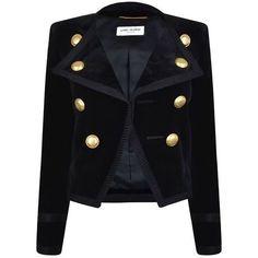 Saint Laurent Velvet Jacket ❤ liked on Polyvore featuring outerwear, jackets, velvet jacket, long sleeve jacket, yves saint laurent jacket and yves saint laurent