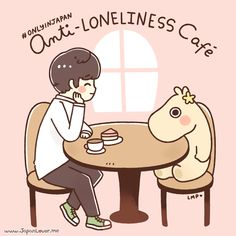 "A cafe in Japan, called Tokyo's Moomin House Cafe, has been trending in the internet for a few days now, and has been popularly known as the ""Anti-Loneliness"" Cafe~  The cafe provides a huge stuffed toy (called ""Moomin"") to keep you company if you're dining alone~ (or if you seem lonely (~‾▿‾)~)  #OnlyInJapan ~!  www.japanlover.me Art by Little Miss Paintbrush"