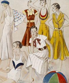 National Magazines - Beach Fashions for 1932 - Canvas Print & Photos - Photowall