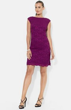 Lauren Ralph Lauren Lace Sheath Dress (Petite) | Nordstrom