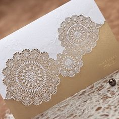 Dark Golden Hollow Lace Flower Wedding Invitation Card with Envelopes and Seal, Wholesale Available, New Arrival
