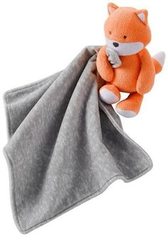 Carter's Plush Orange Fox Rattle Holding Gray Security Blanket Lovey Baby Gift #Carters