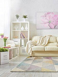 benuta Teppiche: Moderner Designer Teppich Pastel Geomet Gelb 80x150 cm - GuT-Siegel - 100% Polypropylen - Geometrisch - Maschinengewebt - Wohnzimmer
