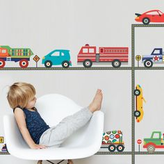 Terrific Truck and Cool Car Wall Decals & Straight Road Matte Fabric P – Wall Dressed Up