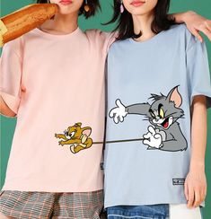 Tom and Jerry Lover T-Shirt Shirt Print Design, Shirt Designs, Pajama Outfits, Cute Outfits, Tom And Jerry Wallpapers, Tom And Jerry Cartoon, Best Friend Outfits, T Shirt Painting, Vetement Fashion