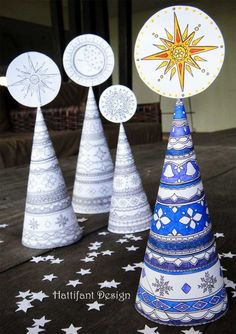 3D Coloring Pages for Grown ups - christmas trees - this is simply BEAUTIFUL. Would make a wonderful Christmas Mantle display. Or school fair activity!