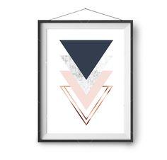 Triangles Art Geometric Print Minimal Poster Copper von PrintAvenue