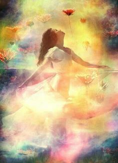 Prophetic Art painting. Beautiful picture. Painting of Girl dancing with skirt swirling around worshiping the Lord. Holy Spirit bliss. Lovely rainbow pastel colors and flowers. Please also visit www.JustForYouPropheticArt.com for more colorful Prophetic Art you might like to pin. Thanks for looking! #propheticart                                                                                                                                                                                 More