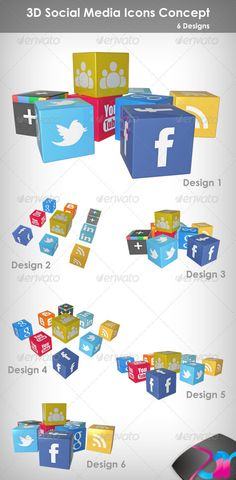 ============================ 3D Social Media Icons Concept Use these graphics to show Social Media sites and services on your Web