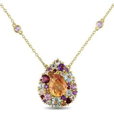 Miadora Yellow-plated Silver Multi-gemstone Teardrop Necklace ($144) ❤ liked on Polyvore featuring jewelry, necklaces, blue, rose pendant, yellow jewelry, silver pendant, pendant jewelry and gem jewelry