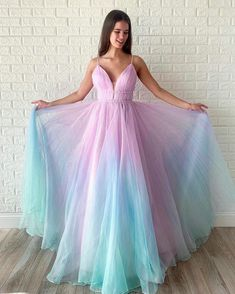 Buy Ombre Long Prom Dress V-neck Beaded Graduation Gown wear to a military ball, formal party, graduation or wedding that perfect for you and your unique personality. A Line Prom Dresses, Tulle Prom Dress, Cheap Prom Dresses, Homecoming Dresses, Party Dress, Ombre Prom Dresses, Quinceanera Dresses, Party Wear, Bridesmaid Dresses