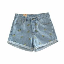 Compare Discount Summer High Waist Denim Shorts Women Banana Embroidery Casual Cotton Short Jeans Shorts For Women's Cloth Female Large size Short Jeans, Short En Jean, Short Shorts, Curling, Business Casual Jeans, Light Blue Shorts, Plus Size Casual, Cotton Shorts, High Waist Jeans