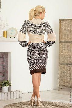 """Купить Платье """"Каппучино"""" - коричневый, вязаное платье, Жаккардовый узор, жаккардовое вязание, теплое платье"""
