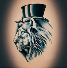 Steampunk Mr Lion with Top Hat Fashion Pattern temporary tattoo