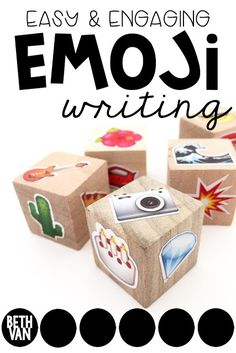 STORY DICE Quick and Easy WRITING CENTER using EMOJI's. Engaging and has so many uses! Perfect for third grade, fourth grade, fifth grade, sixth grade elementary classrooms and middle school. Writing Classes, Writing Lessons, Writing Workshop, Teaching Writing, Writing Prompts, Esl Writing Activities, Middle School Activities, Writing Games, Writing Centers