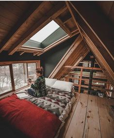 49 Stylish Loft Bedroom Design Ideas is part of A frame house - Do you want to extend the living capacity of your home, then why not convert your loft space into a […] A Frame Cabin, A Frame House, Future House, Ravens Home, Bedroom Loft, A Frame Bedroom, Loft Room, Cabin Bedrooms, Skylight Bedroom