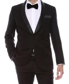 Gramercy Mens Black Tapestry Super Slim Fit Shawl Tuxedo Blazer