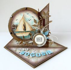 kartkulec: for a man Bday Cards, Birthday Cards For Men, Masculine Birthday Cards, Masculine Cards, Homemade Birthday Cards, Homemade Cards, Fun Fold Cards, Folded Cards, Nautical Cards