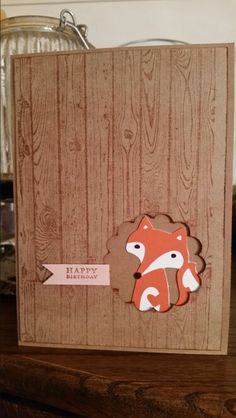 Fox card with Cricut Artistry fox and StampinUp! woodgrain stamp and scallop circle punch From Random Memories  Www.scrappinjulie@blogspot.com