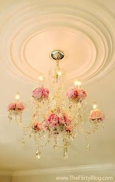 shabby chic chandler No painting. Just add silk flowers to a crystal chandelier…. - All For Decoration Shabby Chic Mode, Estilo Shabby Chic, Shabby Chic Living Room, Shabby Chic Bedrooms, Shabby Chic Cottage, Shabby Chic Style, Shabby Chic Furniture, Cheap Furniture, Rose Cottage