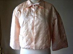 etsystalker:  Vintage Pink Quilted Satin Bed Jacket with Ribbon TrimRenaissanceProfessor