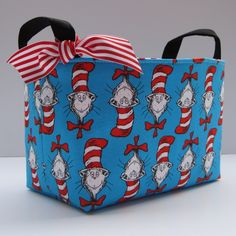 Storage and Organization - Fabric Organizer Container Bin Basket - Made with Dr. Seuss Cat in the Hat Heads Fabric. $18.00, via Etsy.