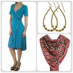 """Friday favourites! Kan man undgå at blive forelsket i den fine Vera kjole fra Weiz Copenhagen? Den et lavet som en """"falsk"""" slå-om, dvs du får det flotte snit men Ikke besværet med at den blæser op. Dress den op med smukke gyldne memory øreringe og et lækkert Inka tørklæde."""