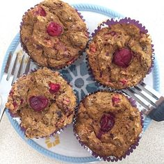 Prepare these delicious Pumpkin Cranberry Muffins for your week. They're perfect on the go! ❤️ Thanks for sharing @brianna_rae36! 1 cup vanilla #PerfectFitProtein 1 cup whole wheat flour 1/4 cup stevia 2 tsp baking powder 1 tsp baking soda 2 tsp cinnamon 2 tsp nutmeg 1 cup egg whites 1 cup pumpkin purée 1 cup fresh cranberries, chopped 1.5 cups unsweetened applesauce 2 tsp coconut oil, melted 1 tsp almond extract Makes 12 muffins. Preheat oven to 350 degrees. Mix dry ingredients in a large…