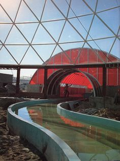 The Land pavilion under construction in EPCOT Center Walt Disney World Orlando, Disney World Parks, Old Disney, Vintage Disney, Walt Disney Imagineering, Epcot Center, Disney Rides, Disney World Resorts, Disney Dream