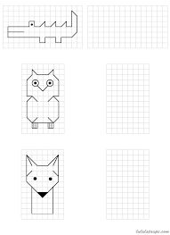 Simple drawings to reproduce on grid School MATHEMATIC HISTORY Mathematics is one of the oldest sciences … Therapy Activities, Activities For Kids, Graph Paper Art, Math For Kids, Easy Drawings, Blackwork, Mathematics, Kids Learning, Pixel Art