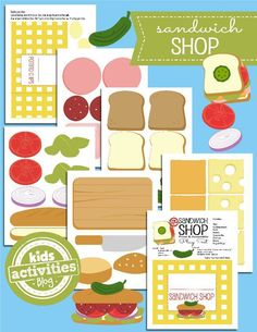 Open a {Paper} Sandwich Shop These printables are DARLING! Everything you need to open a {paper} Sandwich Shop!These printables are DARLING! Everything you need to open a {paper} Sandwich Shop! Toddler Activities, Preschool Activities, Kids Printable Activities, Picnic Activities, File Folder Activities, Dramatic Play Centers, Sandwich Shops, Pretend Play, Role Play