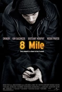 """In 2003 Eminem received an Oscar for """"Lose Yourself"""" from the film 8 Mile. The track became the first rap tune to win an Oscar for Original Song. Rap God, All Movies, Movies To Watch, Saddest Movies, Love Movie, Movie Tv, Hunger Games, Miles Movie, Bon Film"""