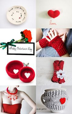 Grow old with me #crochet #etsy #treasury #felt #knit #fingerless #red #Valentine
