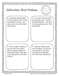 Smiling and Shining in Second Grade: Word Problems for Second Grade - FREEBIE