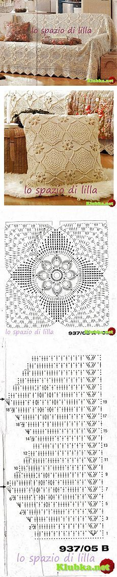 58 ideas for crochet patrones almohadones Crochet Cushion Pattern, Crochet Cushion Cover, Crochet Bedspread, Crochet Motifs, Crochet Cushions, Crochet Blocks, Crochet Tablecloth, Crochet Pillow, Crochet Diagram