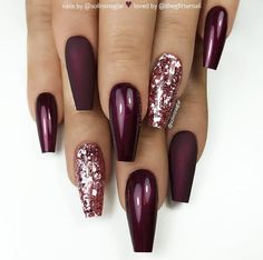 46 Elegant Acrylic Ombre Burgundy Coffin Nails Design for Short and Long Nails - S . - 46 Elegant acrylic ombre burgundy coffin nails design for short and long nails – page 45 of 46 - Burgundy Nail Designs, Burgundy Nails, Ombre Burgundy, Maroon Nails, Cute Acrylic Nails, Cute Nails, My Nails, Autumn Nails Acrylic, Nails Today