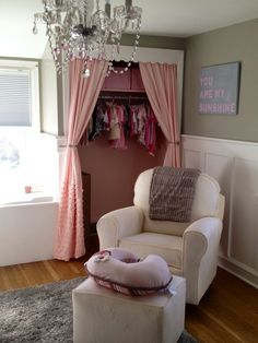 Perfect pink closet. Curtains instead of doors!