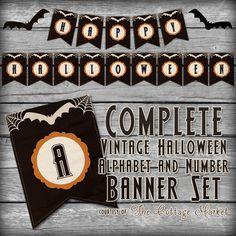 Free Halloween Printable Banner Complete Alphabet & Number Set - The Cottage Market #HalloweenFreePrintable, #HalloweenFreePrintableBanner, #HalloweenPintable