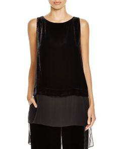Eileen Fisher Velvet top with silk georgette trim--eileen fisher website $248
