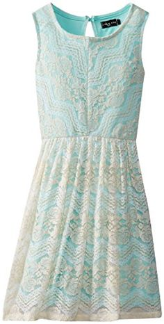 Ruby Rox Big Girls' Tank Dress with Patterned Lace Overlay - Tobona.com