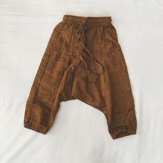 Kids burnt orange harem boho hippie pants 100% cotton trousers
