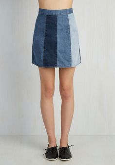 Jill of All Shades Skirt. You know all the style tricks, and displaying this denim mini skirt is your latest. #blue #modcloth