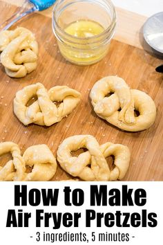 Air Fryer Pretzel Bites - 2 Recipes - Ninja Foodi Pretzels Air fryer pretzel bites are fun after school or party snacks to make at home! Using just 3 ingredients this is an easy pretzel recipe you can try too! Air Fryer Recipes Snacks, Air Fryer Recipes Breakfast, Air Frier Recipes, Air Fryer Dinner Recipes, Snack Recipes, Easy Recipes, Healthy Recipes, Air Fryer Recipes Vegetarian, Budget Recipes