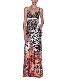 Look at this #zulilyfind! Elfe Orange & Brown Animal Drape Maxi Dress by Elfe #zulilyfinds