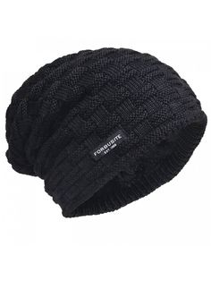 dff6fa952bc47 Men Knit Beanie Hat Thick Fleece Lined Winter Skull Cap B5050 - Check-black  - CY12OCHSS2Y